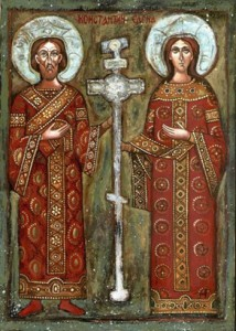 Sacred icon depicting the Emperor Constantine with his mother St. Helen, who is reputed to have brought the True Cross from the Holy Land.