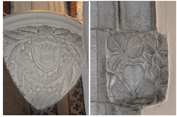 Figures 3-4: A view of the Milesian Crown-detailed label stops in the Sacred Heart Chapel. This emblem appears in a number of locations in the interior of the church and is also visible on the exterior. Celtic Revival motifs also abound and include shamrock-detailed label stops carved from Liscarroll limestone