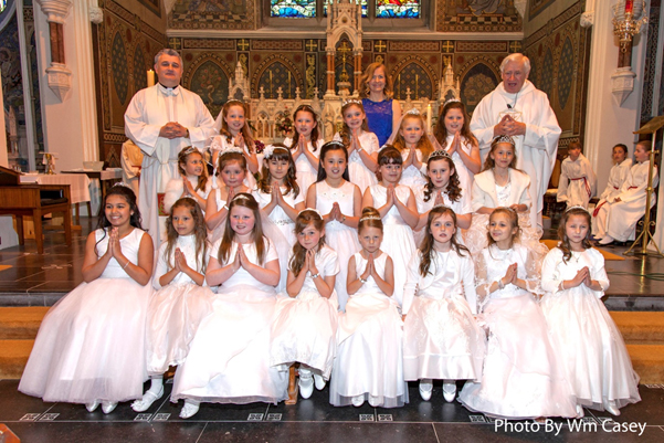 St. Annes's Girls looking good on their First Holy Communion 2015 with Canon Seán and Fr Tom.