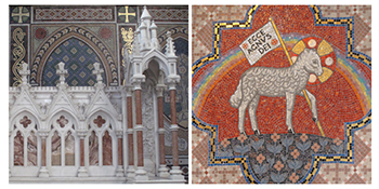 Figures 7-8: A detail of the high altar supplied by Earley and Company (closed 1975) of Dublin. Later mosaic work was completed by Ludwig Oppenheimer Limited (established 1865) of Old Trafford, Manchester, and included the decoration of the Sacred Heart Chapel