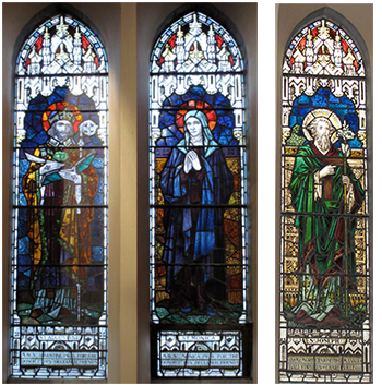 "Figures 5-6: A view of the stained glass memorial diptych showing Saint Augustine and Saint Monica signed: ""J. Clarke and Sons, 33 Nth. Frederick St., Dublin"". The Mannix Memorial Window showing Saint Joseph is dedicated: ""In Memory of Joseph D. Mannix/Ballydrheen [sic.] Charleville RIP"""