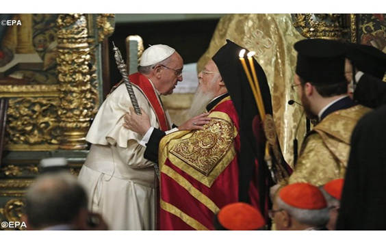 Pope Francis participating in an ecumenical prayer service with the Ecumenical Patriarch of Constantinople, Bartholomew I.