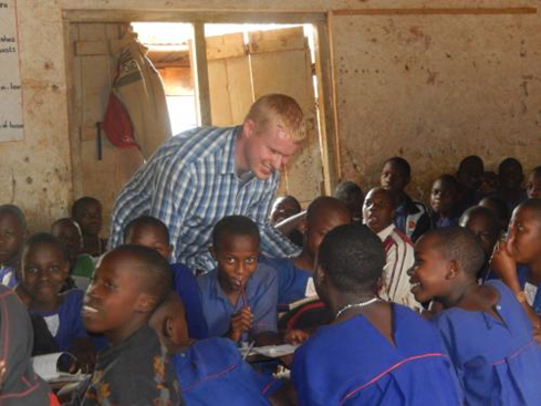 Principal, Michael O'Sullivan, teaching in Uganda on his trip there with the charity Nurture Africa.