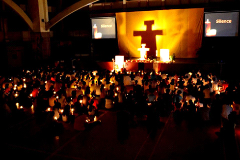 Taizé prayer group reflecting on the word of God through chant and meditation