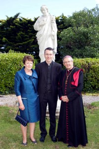 Eamon Roche after his ordination with his mother Margaret and Bishop Crean. Picture: Cillian Kelly